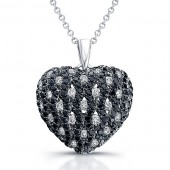 14k White Gold Black Diamond Heart Pendant