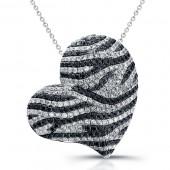 14k White Gold Black and White Diamond Heart Pendant