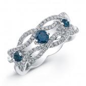 14k White Gold Treated Blue Diamond Woven Band