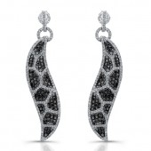14k White Gold Black and White Diamond Animal Print Earrings