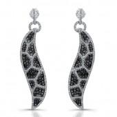 14k White Gold Black and White Diamond Animal Print Earrings