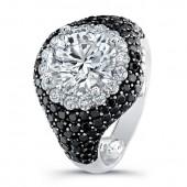 18k White Gold Black and White Diamond Halo Semi Mount Ring