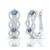 14k White Gold Treated Blue Diamond Wave Earrings