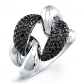 18k White Gold Black Diamond Cuban Link Ring