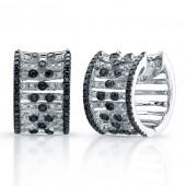 14k White Gold Black and White Diamond Hoop Earrings