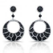 14k White Gold Black and White Diamond Animal Print Chandelier Earrings