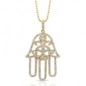 14k Yellow Gold Diamond Hamsa Pendant
