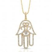 14k Rose Gold White Diamond Hamsa Pendant