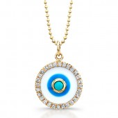 14k Yellow Gold Enamel Evil Eye Pendant with Turquoise Center