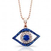 14k Black and Rose Gold Evil Eye Pendent with White Diamonds and Sapphire Center