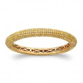 18K Rose Gold Golden Yellow Diamond Pave Set Bangle