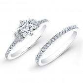 14k White Gold Sleek White Diamond Bridal Set