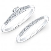 14k White Gold 1/5ct Center White Diamond Pave Bridal Set