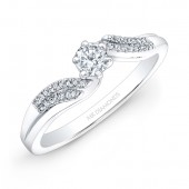 14k White Gold 1/4ct Center White Diamond Engagement Ring