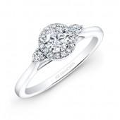 14k White Gold Diamond Halo Diamond Engagement Ring