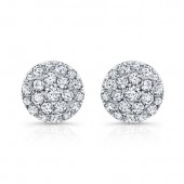 14k White Gold White Diamond Circle Stud Earrings
