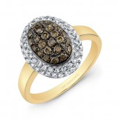 14k Yellow and Black Gold Brown Diamond Oval Halo Ring