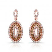 14k Rose Gold White and Brown Diamond Oval Frame Earrings