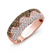 14k Rose and Black Gold Brown Diamonds Contrast Fashion Band