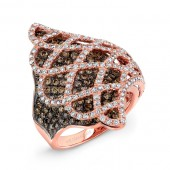 14k Rose and Black Gold White Diamond Web Statement Ring