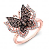 14k Rose and Black Gold Brown Diamond Butterfly Ring
