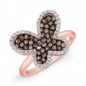 14k Rose Gold Brown Diamond Butterfly Fashion Ring