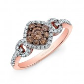 18k Rose and Black Gold White and Brown Diamond Fashion Ring