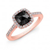 14k Rose and Black Gold White Diamond Halo Rose-cut Black Diamond Center Engagement Ring