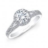 14k White Gold Split Shank White Diamond Halo Engagement Ring