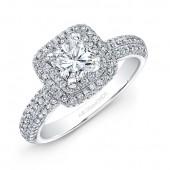14k White Gold Square Diamond Halo Engagement Ring