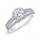 14k White Gold Three Row Split Shank Diamond Halo Engagement Ring Bridal Set