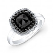 14k White and Black Gold Rose-cut Black Diamond Engagment Ring with Contrasting Halos