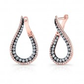 14K Rose and Black Gold Unique Brown Diamond Tear Drop Shaped Earrings