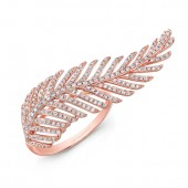 14k Rose Gold White Diamond Feather Ring