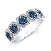14k White Gold Treated Blue Diamond Five Hexagon Halo Band