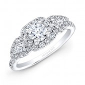 14k White Gold Pear Shaped Side Stone Engagement Ring Semi Mount