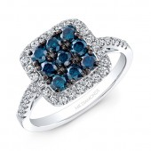 14k White and Black Gold Treated Blue Diamond Center White Diamond Halo Fashion Ring
