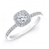 14k White Gold White Diamond Cushion Shaped Halo Engagement Ring