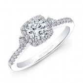 14k White Gold White Diamond Cushion Halo Engagement Ring