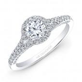 14k White Gold White Diamond Halo Split Shank Engagement Ring