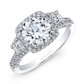14k White Gold White Diamond Three Stone Engagement Ring
