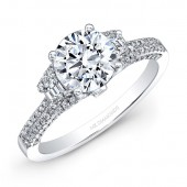 14k White Gold White Diamond Trapezoid Side Stone Engagement Ring