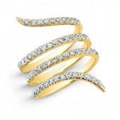 14k Yellow Gold Diamond Wrapped Ring