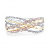 18k White, Yellow and Rose Gold Diamond Bangle