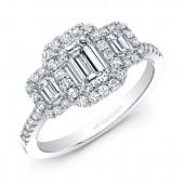 14k White Gold Complete Diamond Engagement Ring