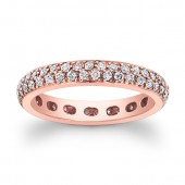 18k Rose Gold White Diamond Double Row Eternity Band