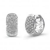 14k White Gold Diamond Pave Huggy Hoop Earrings