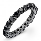 14k Black Gold Eternity Band Set with Black Diamonds