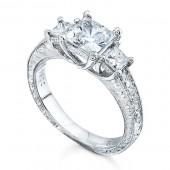 14k White Gold Three Stone Diamond Engagement Semi Mount - 7411-W