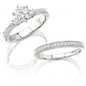 14k White Gold Three Stone Petite Diamond Bridal Set